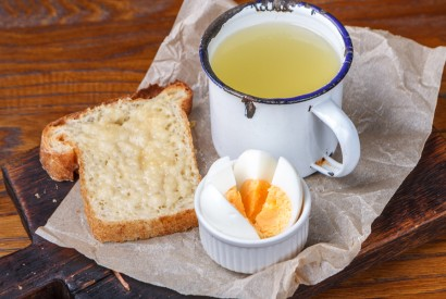 Chicken broth with egg and cheese toast