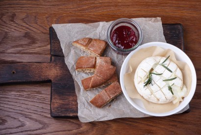Baked Camembert with lingonberry jam and barley flatbread